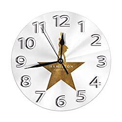 Wall Clock Silent Non Ticking Round Wall Clocks, Hamilton an American Musical Clocks 10 Inch Battery Operated Quartz Analog Quiet Desk Clock for Home, Office, School