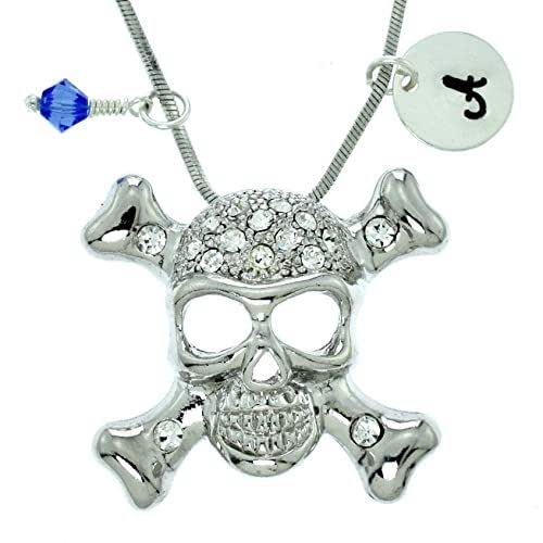 Sparkling Crystal Block Ring Chandelier: Amazon.com: Personalized Crossbones Skull Pendant