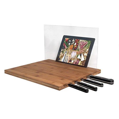 CTA iPad Air/iPad 3rd Gen/iPad 2 & Knife Storage Bamboo Cutting Board - Retail Packaging - Brown