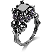 DALARAN Women's Cubic Zirconia Skull Rings Black Claw Gothic Band Cool Party Jewelry