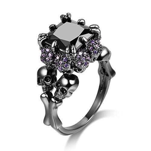 Skull Rings Black Cubic Zirconia for Women Fashion Rings Halloween Christmas Jewelry Size 9