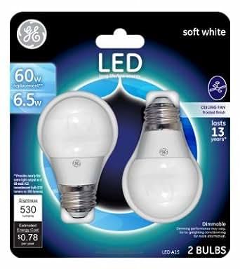 Ge Led 60 Watt A15 Ceiling Fan Light Bulb 2pk Soft