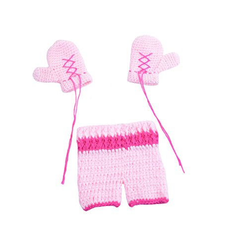 CX-Queen Newborn Baby Photography Prop Crochet Boxing Boxer Glove Pants Costume Pink by CX-Queen