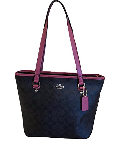 Coach Signature Zip Top Tote (Brown/Rouge)