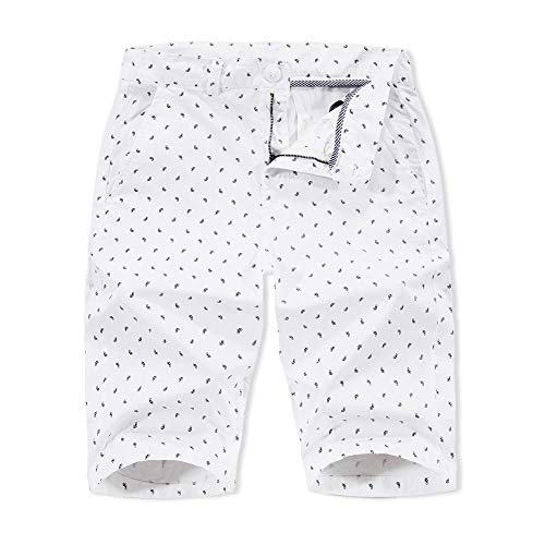 Mens Cotton Casual Shorts White Printed Shorts Classic-Fit 11 Inches Inseam (White, 32)