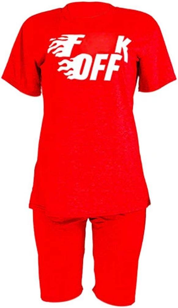 KOOBETON Womens 2 Piece Shorts Set Letter Print T Shirt Casual Outfits Tracksuit
