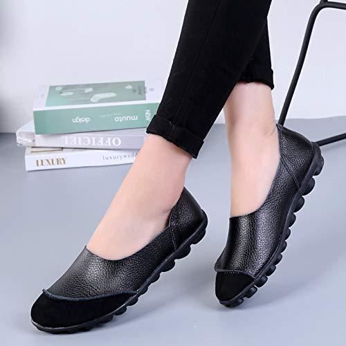 AIMENGA Zapatos Planos Casual Zapatos De Mujer Grandes Bajos De Fondo Plano Guisantes Zapatos De Ocio black