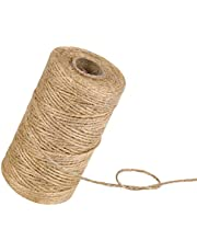 328Feet 3Ply Natural Jute Twine, KUTONTECH Arts and Crafts Jute Rope, Durable Brown Gift Wrapping, Heavy Duty Industrial Packing Materials for Gardening, Recycling, Bundling and More.