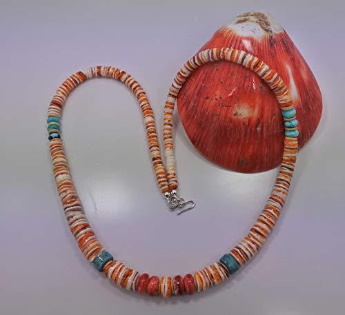 Graduated spiny oyster shell turquoise necklace orange white Southwestern Necklace
