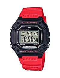 Casio - Reloj de cuarzo clásico para hombre, acero inoxidable y resina, color: rojo (modelo: W-218H-4BVCF)