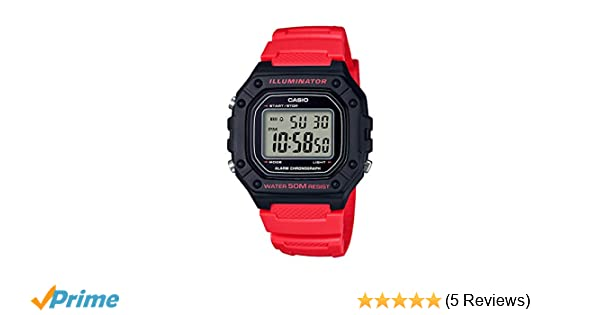 Amazon.com: Casio Mens Classic Quartz Stainless Steel and Resin Watch, Color:red (Model: W-218H-4BVCF): Watches