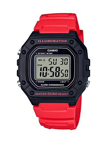 Casio Men's 'Classic' Quartz Stainless Steel and Resin Watch, Color:red (Model: W-218H-4BVCF) (Red Watch Casio Women)