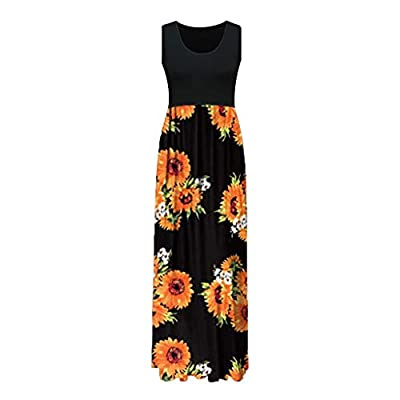 KYLEON Elegant Women's Maxi Dress Floral Printed Summer Sleeveless Casual Beach Party Tunic Long Maxi Tank Dress at  Women's Clothing store