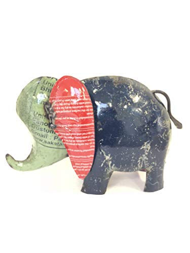Upcycled Emporium Retro Bet On Me Elephant Statue for Home and Outdoor Garden Décor, Handcrafted from Recycled Scrap Metals (Large) (Me Sculptures Near Art)