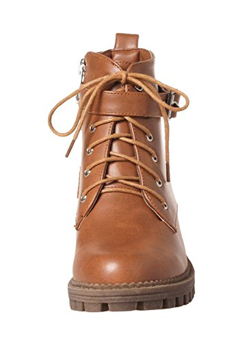 AgeeMi Shoes Women's Round Closed Toe PU Lace-Up Low Heels Low-Top Boots EuX81 Brown EYTUU5i
