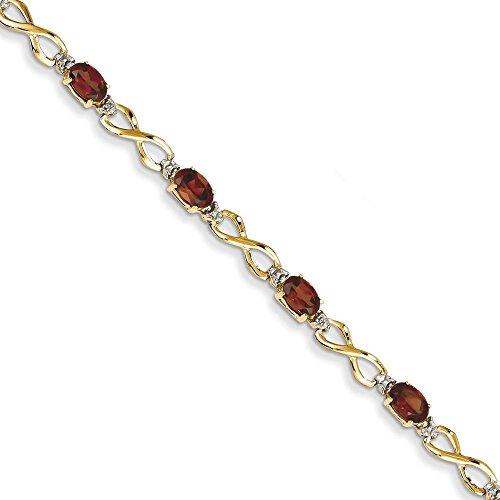 14 carats Grenat et diamants bruts Bracelet avec fermoir-JewelryWeb