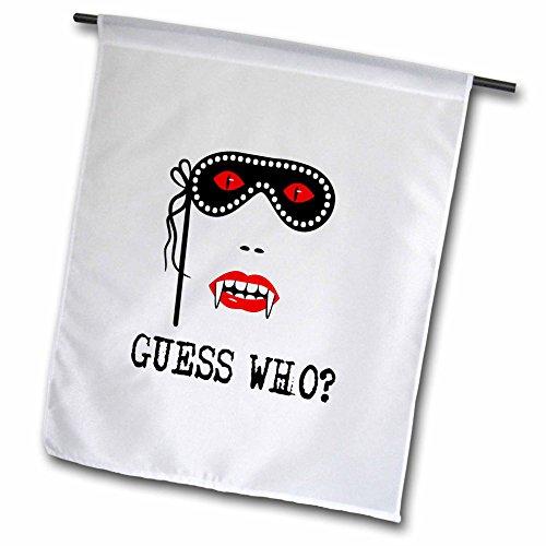 3dRose Alexis Design - Holidays Halloween - Halloween Vampire Woman. Carnival mask. Guess Who - 18 x 27 inch Garden Flag (fl_267204_2) -