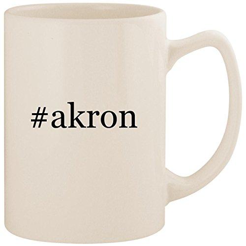 #akron - White Hashtag 14oz Ceramic Statesman Coffee Mug Cup (Ca Duck Chat)