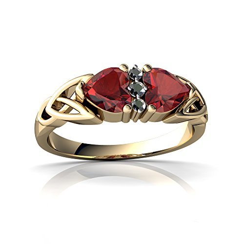 14kt Yellow Gold Garnet and Diamond 5mm Heart Celtic Trinity Knot Ring - Size 9 14kt Diamond Trinity Knot Ring
