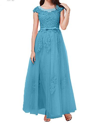 Partykleider Prinzess Rock Abendkleider Blau Charmant Brautmutterkleider Damen Hundkragen A Spitze Kurzarm Linie wWqHYU0