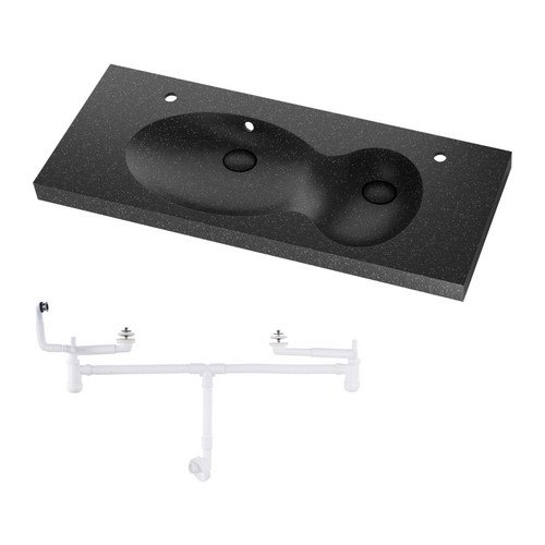 IKEA BREDVIKEN - Doble lavabo, negro - 100x48x7 cm: Amazon.es: Hogar