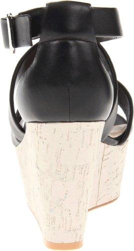Calvin Klein Women's Vonnie Shiny Nappa Platform Sandal,Black,8.5 M US