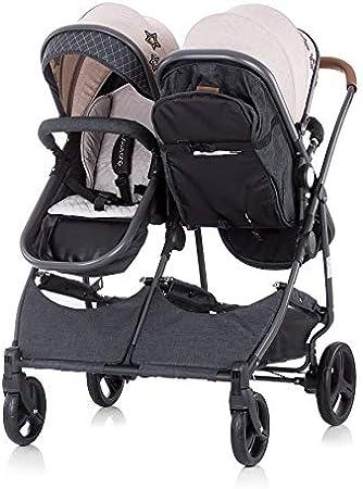 Chipolino poussette pour fr/ères et soeurs Nouveau Twin Duo Smart pliable panier coloris:beige
