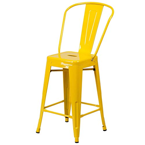 - KLS14 Modern Vintage Style Premium Metal Construction Indoor-Outdoor Bar Stool Curved Backrest Vertical Slat Design Counter Height Side Chair Home Office Decor Furniture - (1) Yellow #2023