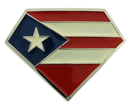 Puerto Rico Usa Flag Bandera puertorriquena Puertorriqueno San Juan Belt Buckles (Diamond Shape Die Cut Size 4.0