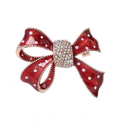 Dwcly Red Enamel Flower Ribbon Brooches Pin Pretty Crystal Broach Clothes Jewelry (Rose Gold)