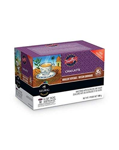 Timothys Cinnamon Tea - Keurig Timothy's Chai Latte K-Cup Pods, 12-pk, 168g, (Imported from Canada)