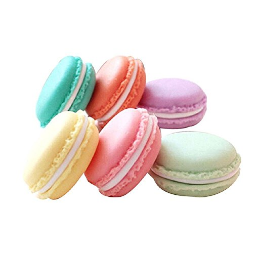 QTMY 6 PCS Mini Fake Macaron Shape Trinket Storage Box Kit Earring Travel Organizer Pill Case Container Props Pretend Play Food for Kids(Small)