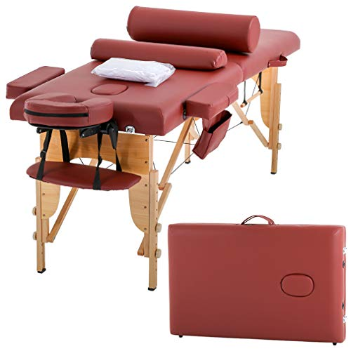 Massage Table Massage Bed Spa Bed 73″ Height Adjustable Cradle Portable Massage Salon Table W/Sheet Bolster Hanger Facial 2 Folding Salon Tattoo Bed