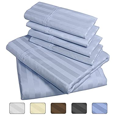 American Pillowcase - Luxury Queen Size Bed Striped Sheet Set - 100% Egyptian Cotton, 540 Thread Count - Deep Pocket With Wrinkle Guard (Color: Light Blue)