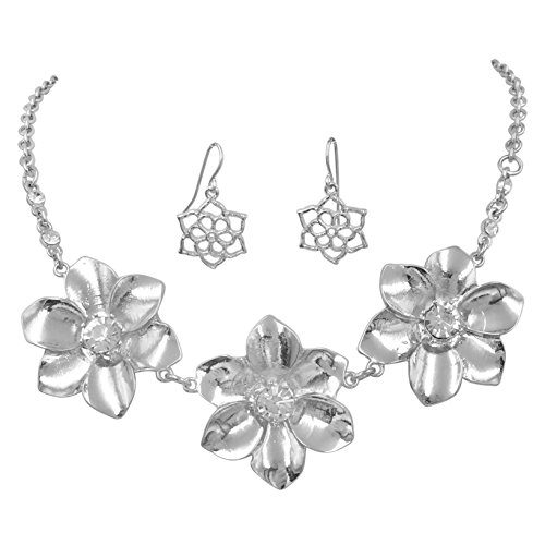 Gypsy Jewels Daisy Flower Cluster Boutique Statement Necklace & Earrings Set (Silver Tone Rhinestone ()