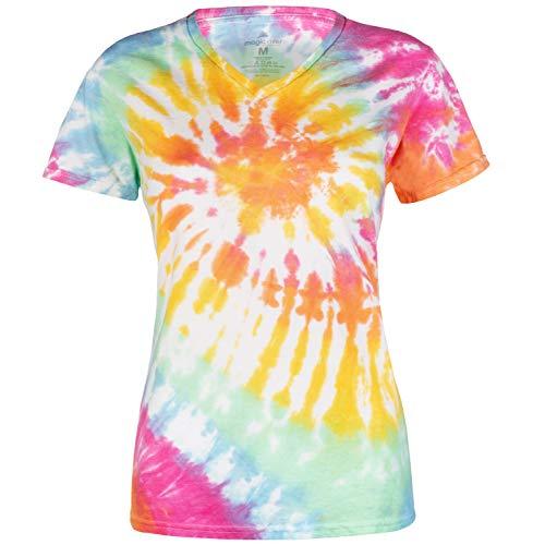 Magic River Ladies V Neck Tie Dye T Shirts for Women - Aerial - Women's XL