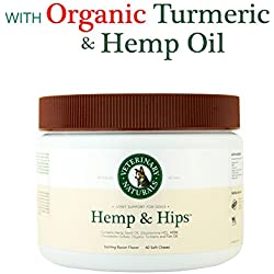 Veterinary Naturals Hemp & Hips' Soft Chew - Best Hip & Joint Supplement for Dogs with Glucosamine, MSM, Chondroitin, Organic Turmeric, Fish & Hemp Oil for Pain, Mobility & Inflammation