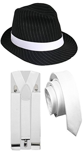 Glossy Look Men's 3 Pcs Pinstripe Gangster Hat White Tie Braces 1920's Trilby Party Costume One Size (1920 Gangster Costumes)