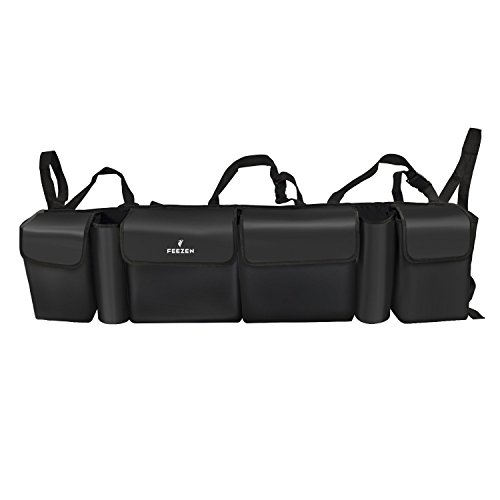 Trunk And Backseat Organizer By Feezen  High Capacity Trunk Storage Best For Suv  Vehicle  Truck  Auto  Minivan Premium Car Organizer With Lid