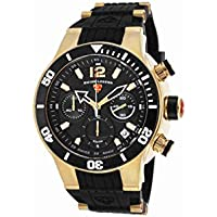 Swiss Legend 14084Sm-Yg-01-Bb Sharkarma Chrono Black Silicone, Dial & Bezel Gold-Tone Ss Watch