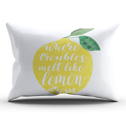 MUKPU Home Custom Pillowcase Where Troubles Melt Like Lemon Drops Yellow Green and White Simple and Chic Throw Pillowcase Cushion Cover One Sided Printed Design Lumbar 12x24 Inches