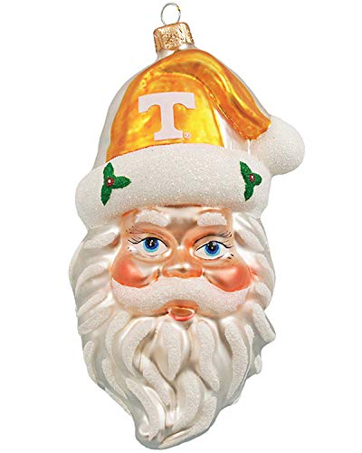 NCAA Tennessee Volunteers NCAA Glass Santa Head Ornament