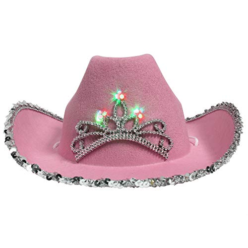LED Light Up Pink Felt Tiara Cowboy Cowgirl Hat Dress Up -
