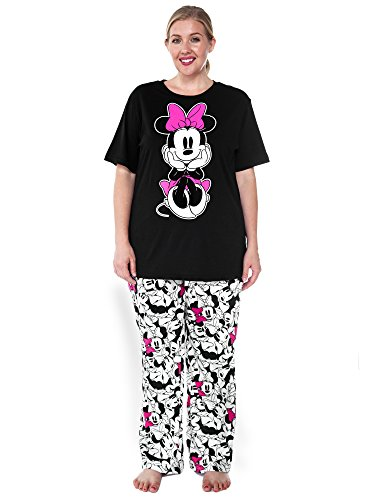 ff3b9789ad Disney Womens Plus Size Pajama Set Minnie Mouse T-Shirt   Pants PJs (Black