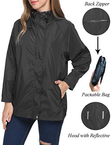 (Raincoat Women Casual Classic Foldable Cool Camping Active Rain Jacket(Black,M))