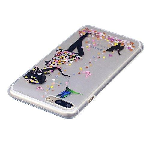 iPhone 7 Plus Coque Filles et chats Premium Gel TPU Souple Silicone Transparent Clair Bumper Protection Housse Arrière Étui Pour Apple iPhone 7 Plus + Deux cadeau