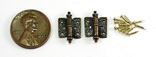Dollhouse Miniature Set of 2 Hinges with 12 Pins in Antique Brass by Town Square Miniatures ()