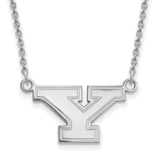 925 Sterling Silver Rhodium-plated Laser-cut Youngstown State University Small Pendant w/Necklace 18