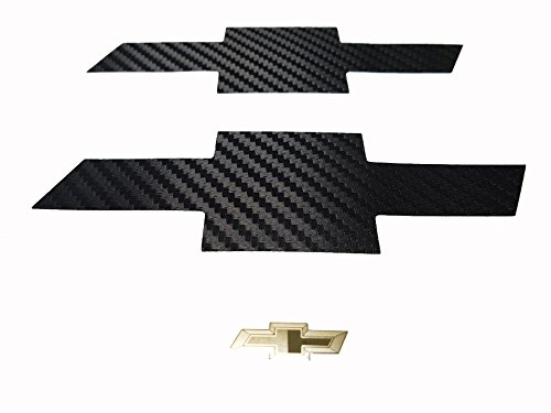 Malibu Emblem (Grille Trunk Carbon Fiber Bowtie Emblem Wrap Kit 2PC & Free Gift Metal Sticker For 13-2015 Chevy Malibu)