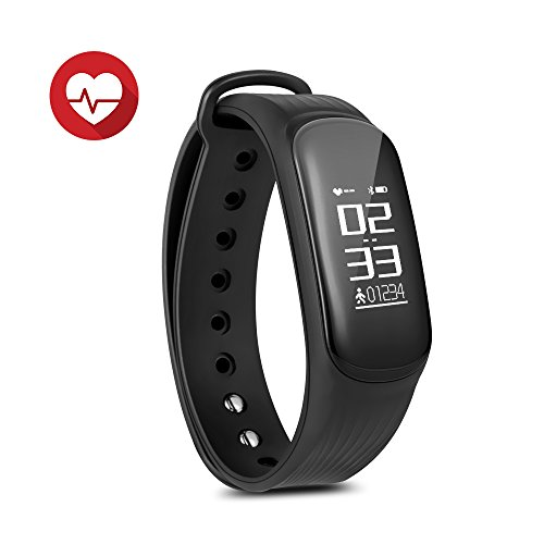 Fitness Tracker Watch IP67 Waterproof Bluetooth Wireless Smart Bracelet with Continuous Heart Rate Monitor Step Calorie Sleep Counter Sports Smart Band for Android and IOS Phones (Black)DAWO